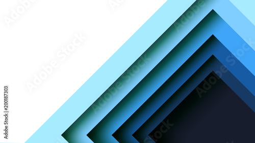 Fotografía  Abstract blue square geometric shape paper cut layer minimal background