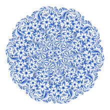 Isolated Blue Round Floral Gzh...