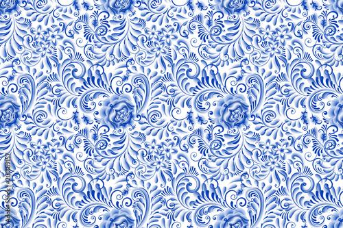 Stampa su Tela Russian ornamental traditional style gzhel