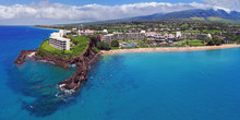Kaanapali Beach - Black Rock - Aerial Panorama - Maui, Hawaii