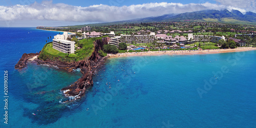 Fotografie, Obraz Kaanapali Beach - Black Rock - Aerial Panorama - Maui, Hawaii