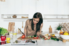 Woman Reading Recipe Simple Su...