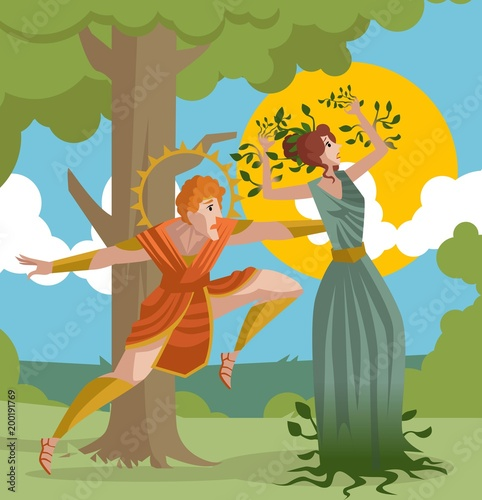 Obraz na płótnie daphne greek mythology transforming into laurel plant and apollo