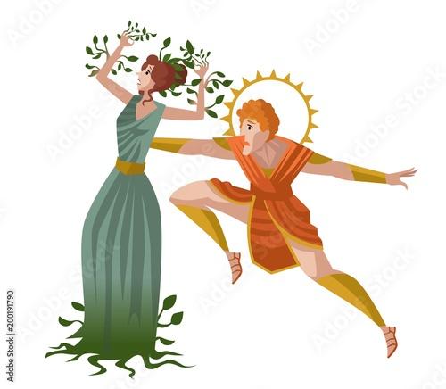 Photo daphne greek mythology transforming into laurel plant and apollo