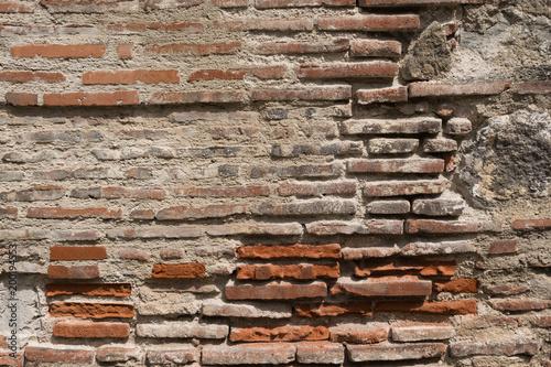 Fotografie, Obraz  pared de ladrillo vieja y dañada