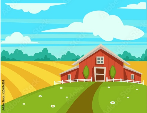 Photo Stands Turquoise Farm house or farmer household agriculture scenery vector cartoon design