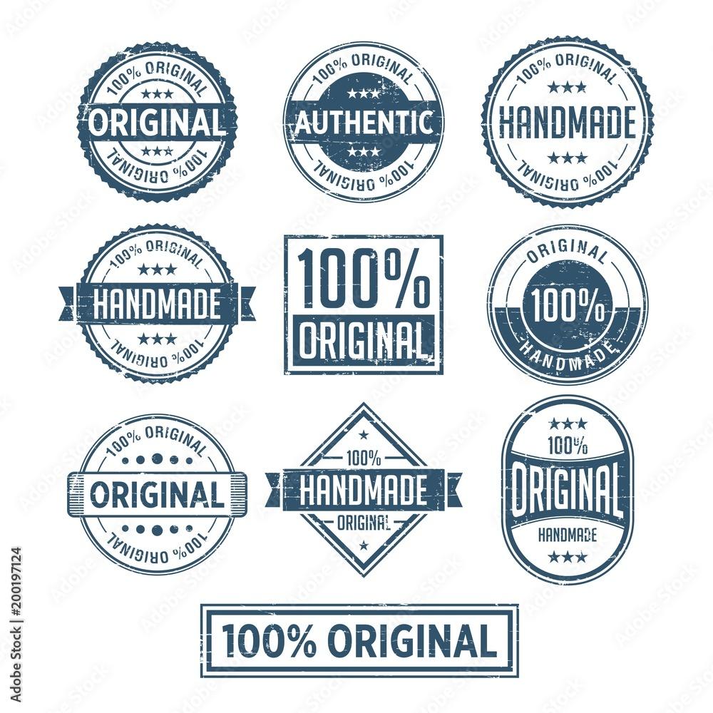 Fototapeta 100% Original Handmade Authentic Label Badge vector