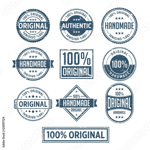 Fotografía  100% Original Handmade Authentic Label Badge vector