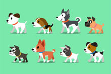 Different Type Of Cute Cartoon Dogs Walking