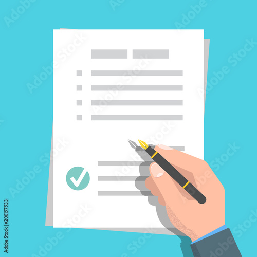 Cuadros en Lienzo Checklist, Claim form concept. Vector illustration in flat style.