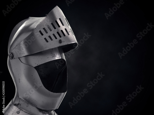 Photo  Background with Medieval Knight Armet Helmet with ipen visor