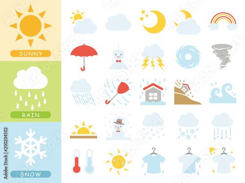 Obraz 天気のアイコンセット - fototapety do salonu