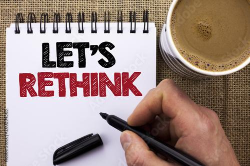 Fotografie, Obraz Text sign showing Let Us Rethink