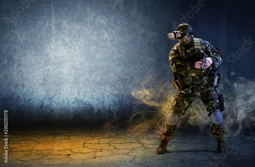 A soldier with virtual real...