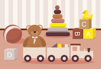 Kids toys concept. Teddy Bear and clorful toys, wooden toy train