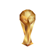 Golden Soccer Cup On A White Background. Sports Polygonal Trophy Illustration.