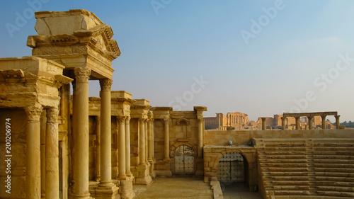 Aluminium Prints Ruins View to Palmyra theatre at Tadmor, Syria