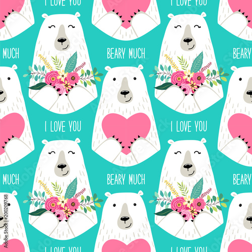 Cute childish seamless pattern with cartoon characters of mama bear and papa bea Lerretsbilde