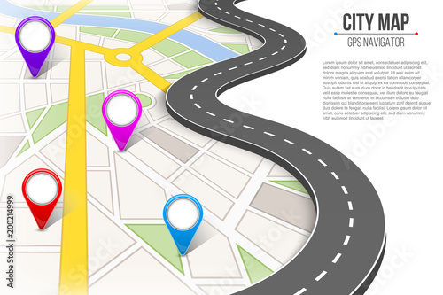 Creative vector illustration of map city Fototapeta