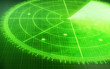 canvas print picture - Green radar screen with targets
