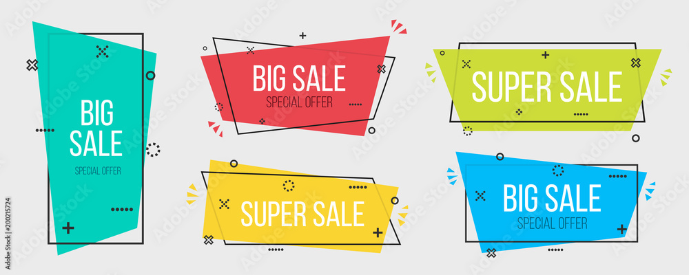 Fototapeta Creative vector illustration of geometric vector banners. Art design vivid transparent. Trendy flat poster. Green, blue abstract concept graphic element. Memphis style. Season sale template.
