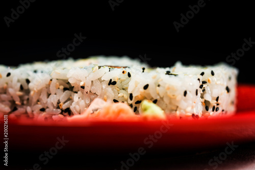 Japanese food Sushi Roll Maki of Salmon and avocado Poster