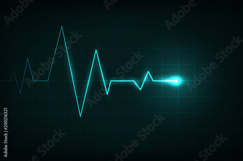 Fotografía  Creative vector illustration of heart line cardiogram isolated on background