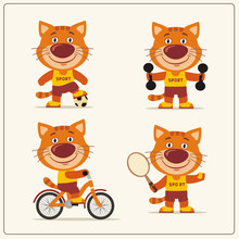 Set Of Funny Kitten Cat Is Engaged In Sports. Collection Of Cartoon Kitten Cat Of The Sportsman: Football Player, With Dumbbells, Bicyclist, Tennis Player.