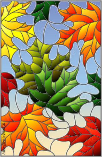 ilustracja-w-witrazu-stylu-z-kolorowymi-liscmi-klonowymi-na-blekitnym-tle