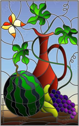 ilustracja-w-stylu-witrazu-z-martwa-natura-owoce-jagody-i-dzban