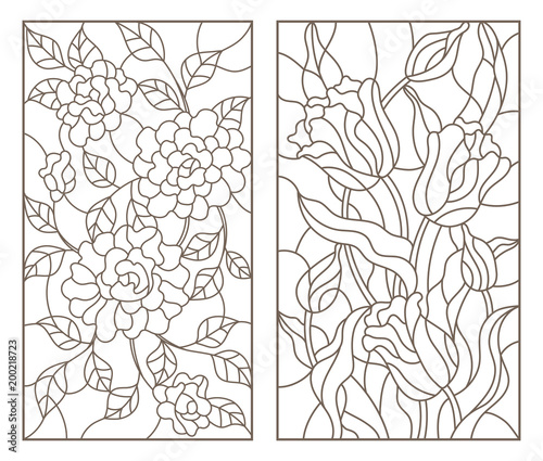 Fotografie, Obraz  Set of contour stained glass illustrations with bouquets of flowers, roses and t