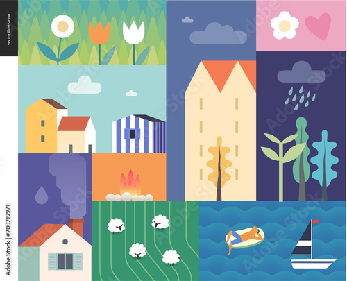 Poster de jardin Route Idillic summer landscape - countryside, town, travel and vacation camp concept - collage of trees, flowers, field with sheep and lake or see waves with a sail boat and resting man on an inflatable