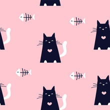 Cute Pattern With Fish Bones And Black Cats On Pink Background. Ornament For Textile And Wrapping. Vector.