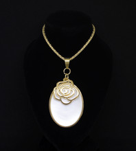 Gold Necklace With Bronze Rose Choker On White Isolated On Black