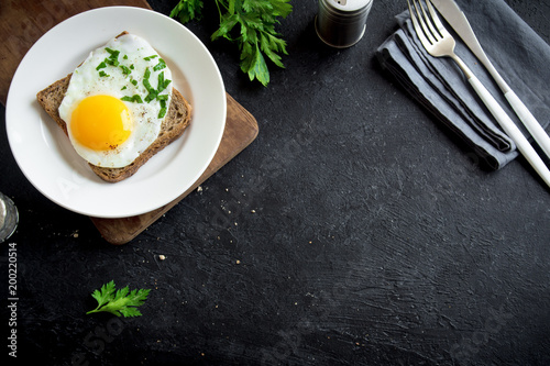 Fried Egg on Toast  for Breakfast