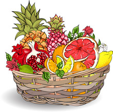 Tropical Fruits In Wicker Basket.