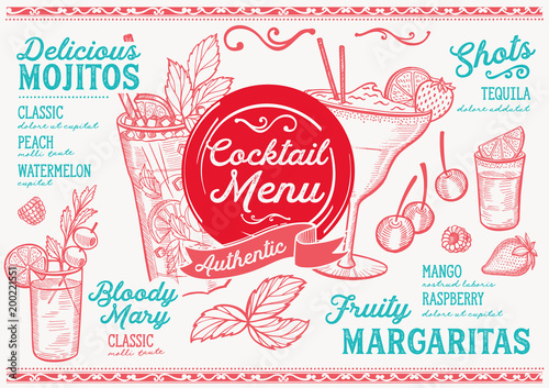 Sports shop Cocktail bar menu. Vector drinks flyer for restaurant and cafe. Design template with vintage hand-drawn illustrations.
