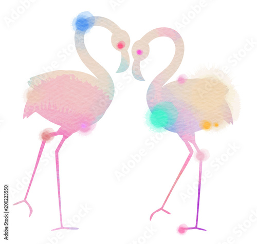 Silhouette watercolor of romantic pink flamingo birds join heads to create a heart Canvas Print
