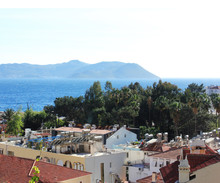 Mediterranean Town On The Beach With Red-tiled Roofs  In Kas, Turkey