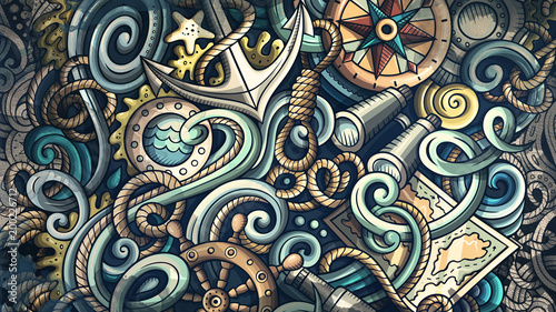 Fotografía Doodles Nautical illustration. Creative marine background