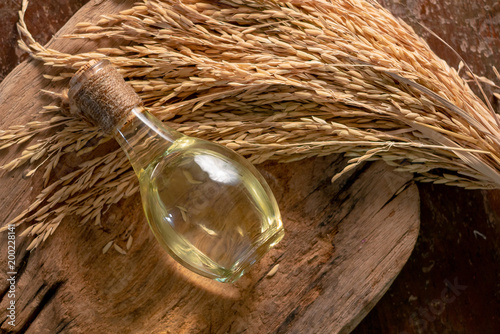 Obraz na plátne  Bottle of rice bran oil and unmilled rice on wooden background