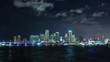 Sunset time lapse over Miami bank downtown waterfront side, Florida. USA