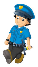 Cartoon Scene With Happy Policeman On Duty - On White Background - Illustration For Children