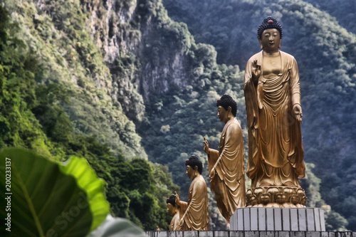 Large gilded statues in Taroko Gorge, Taiwan Canvas Print