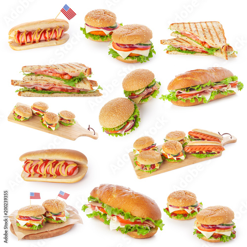 Foto op Canvas Snack Junk fast food collage of burgers, sandwiches and hot-dogs isolated on white background