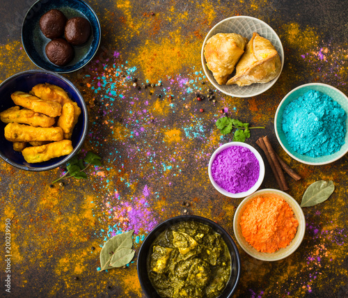 Canvas Prints Spices Indian Holi food