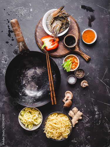 Photo  Asian food cooking concept