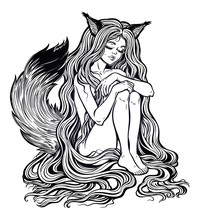 Fox Kitsune As Girl With Long ...