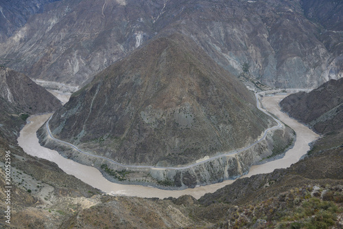 Mountain and Jingsha river landscape from above