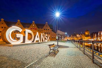 Panel Szklany Podświetlane Gdańsk Old town of Gdansk withoutdor city sign, Poland